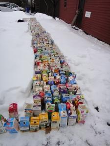 500 Cartons Freezing Outside.
