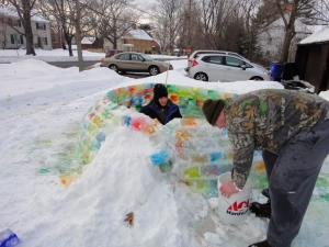 After one failed arch attempt, we used snow to help get it right.
