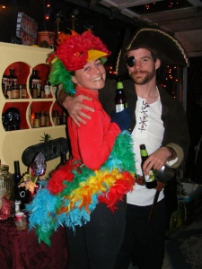 Pirate and a Scarlet Macaw, well, maybe.