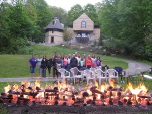 The firewalking group in Niantic...can you spot Katy, Maggie or Jess?