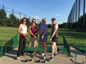 Jeannine, Barb,  Jess and I get a golf lesson.
