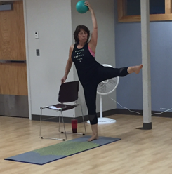 Janice teaching barre in Glastonbury.